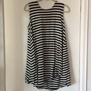 BRANDY MELVILLE Black & White Striped Skater Dress